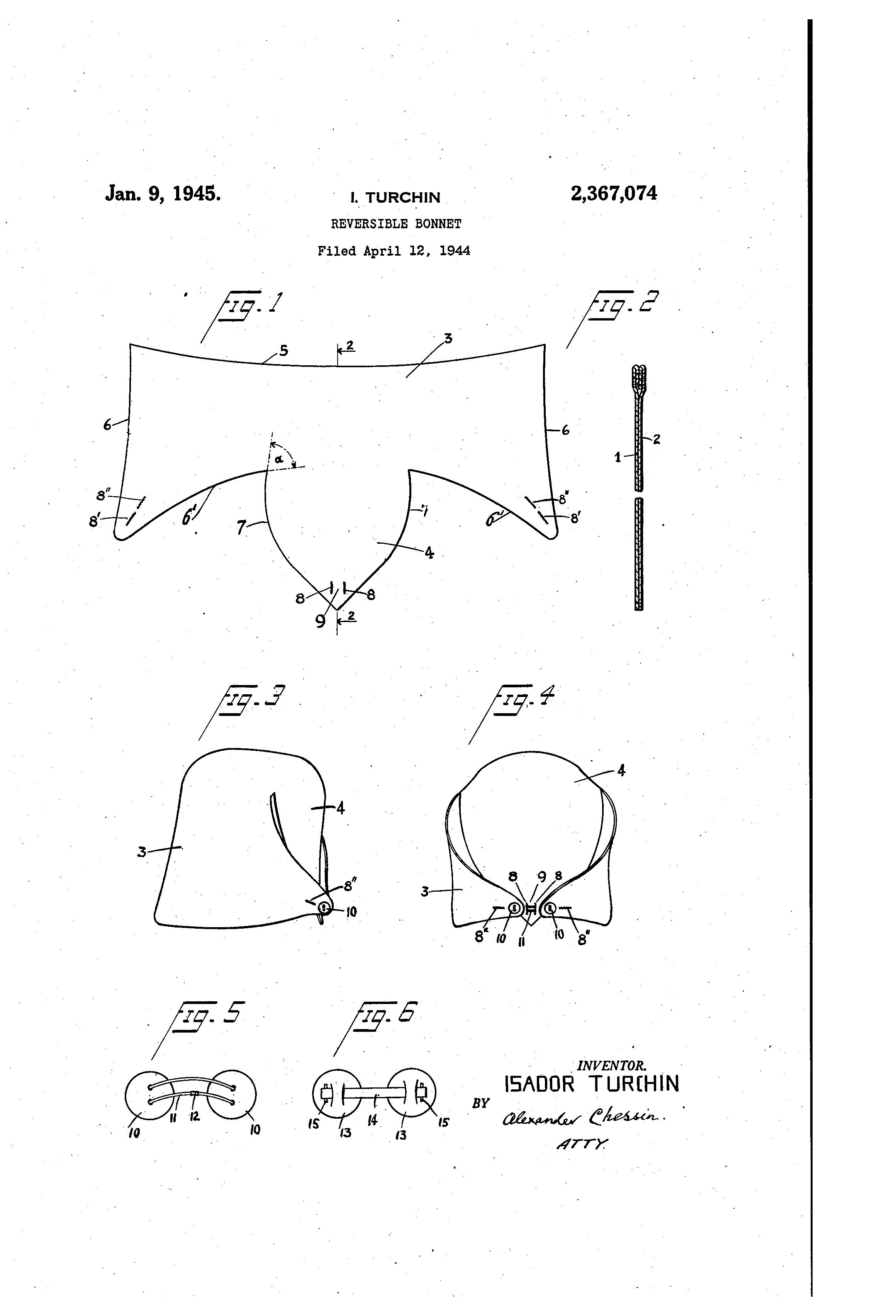 Patent US2367074 - Reversible bonnet - Google Patents | 1920s ...