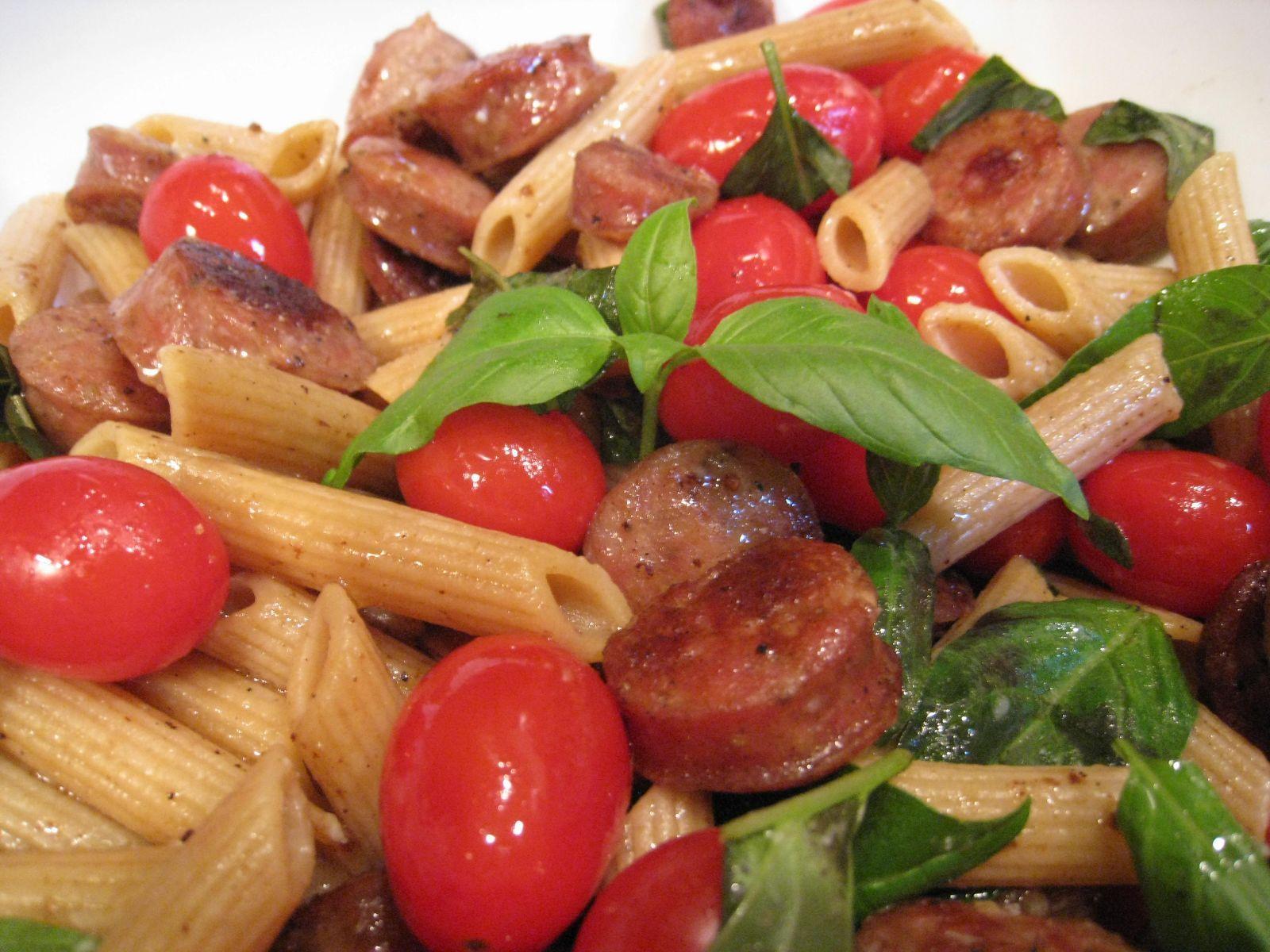 PASTA RECIPES    Ivy's Tomato-Basil Pasta with Chicken Sausage Recipe : Sensory ...