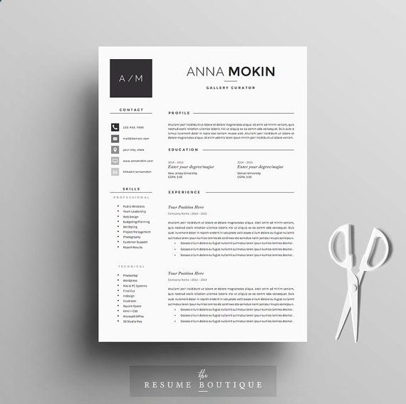 4page Resume / CV Template Cover Letter for MS Word Instant