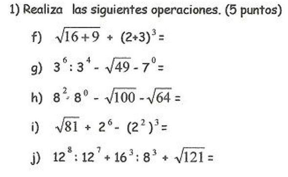 Potencias Ejercicios Matematicos Secundaria Ejercicios De Calculo Matematica Ejercicios