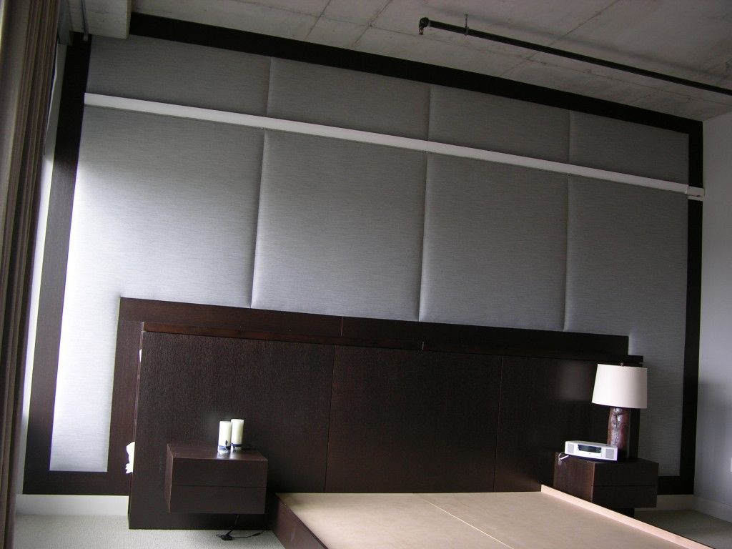 Modern upholstered fabric wall panels with gray wall panels for bedroom decor