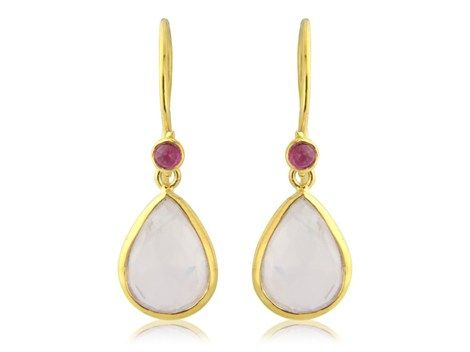 Rose quartz and ruby gold earrings | Argent of London