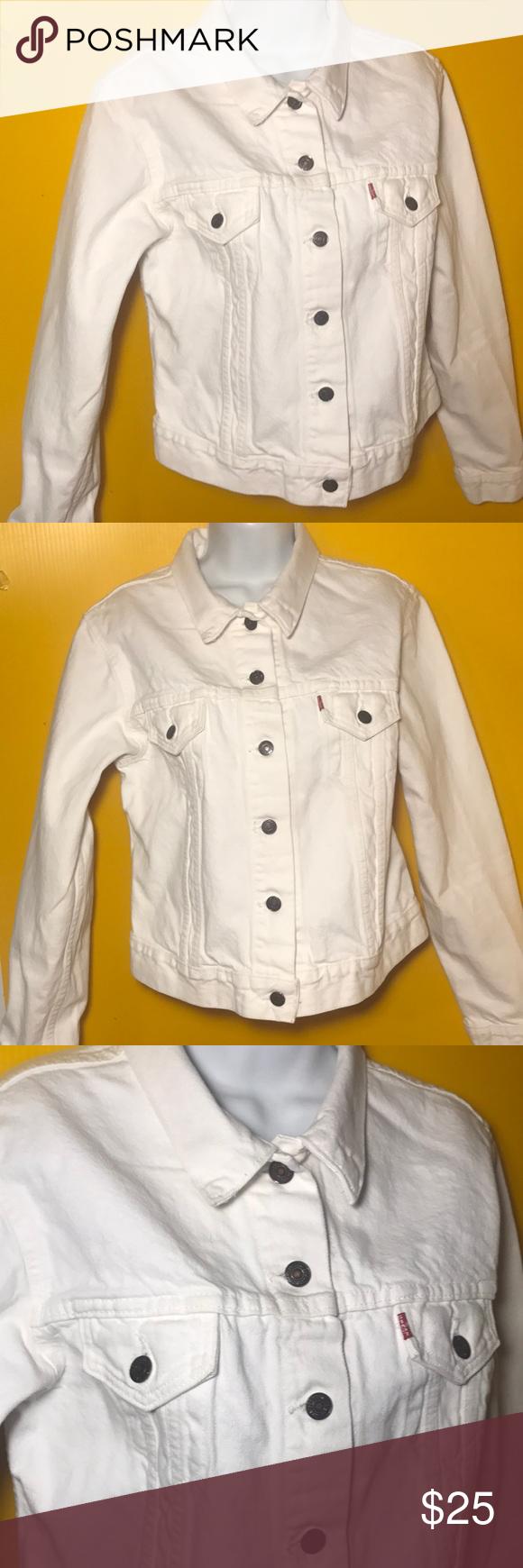 Levi S White Jean Denim Button Up Jacket Size M Levi White Jeans Denim Jeans [ 1740 x 580 Pixel ]