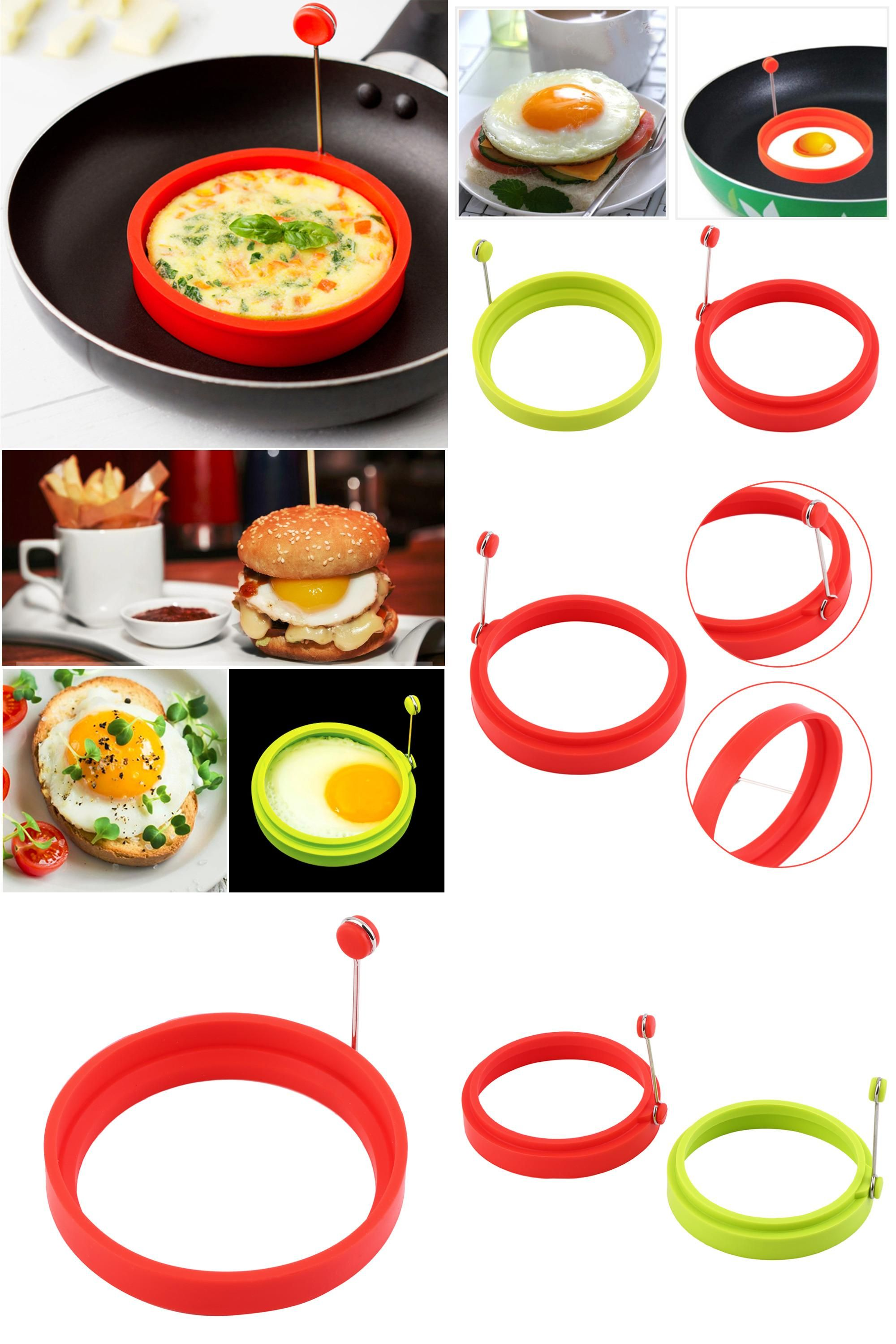 Egg Tools Useful Round Shape Egg Mold Silicone Omelette Shape Egg Fried Frying Pancake Cooking Mould Breakfast Essential Kitchen Tools