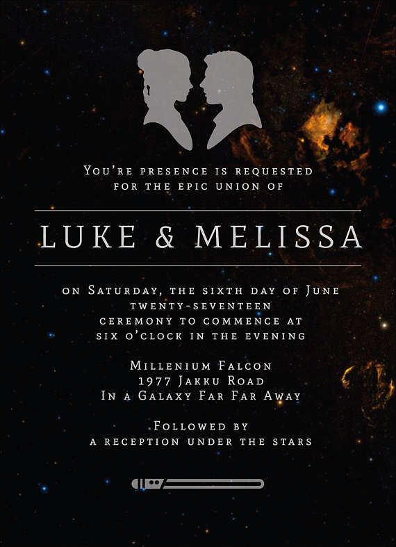 Star Wars Wedding Invitation Wedding Invitation Template Galaxy Wedding Invite Printable Luke Skywalker Princess Leia Jedi Star Wars Wedding Star Wars Wedding Theme Wedding Invitation Templates