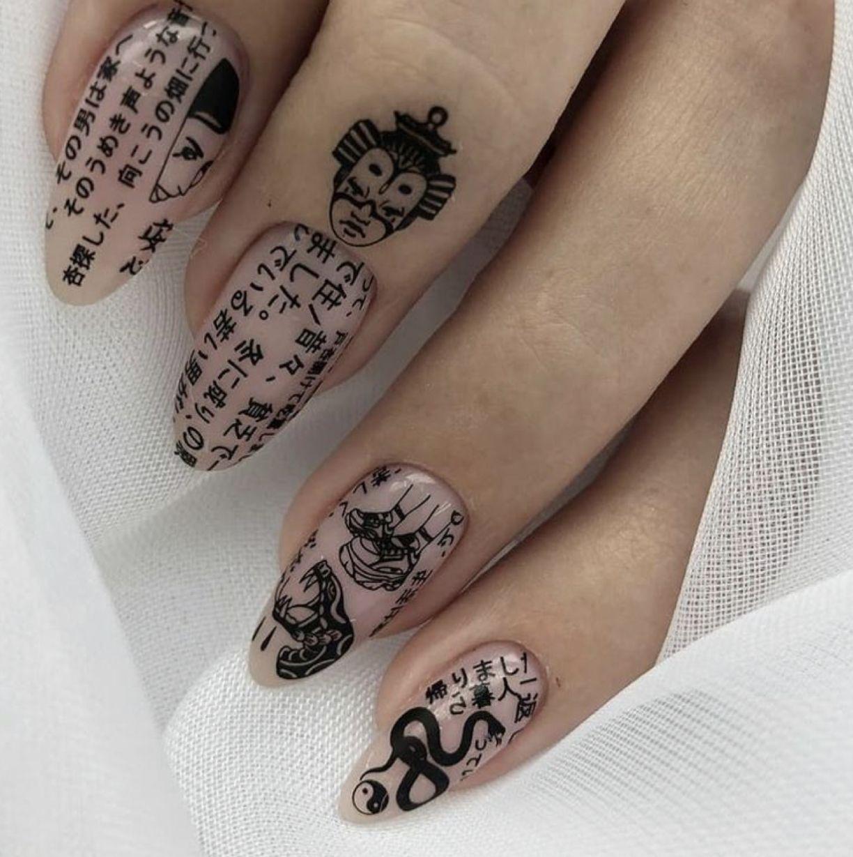 Nails Nailart Art Japanese Hiragana Tumblr Aesthetic Edgy Lovely Cute Bts Adore Inspo V 2020 G Gelevye Nogti Dizajnerskie Nogti Nogti