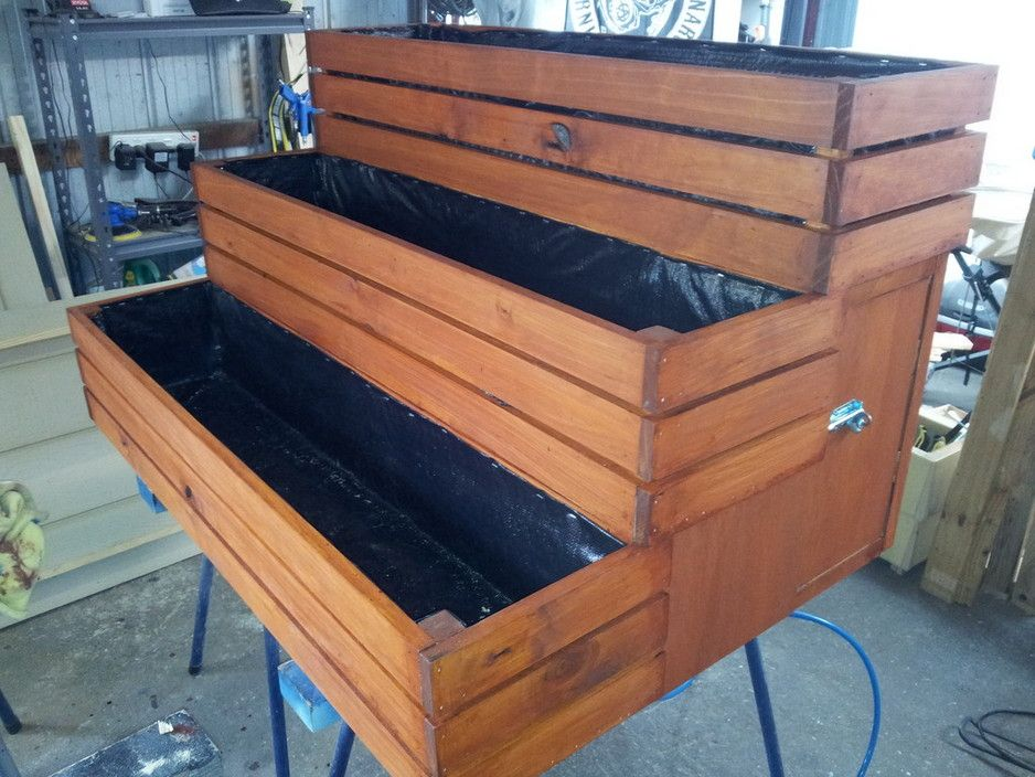 3 Tier Planter Box Enclosed With Lockable Door Stained In Walnut