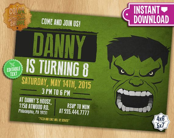 The Hulk Invitation Editable Text Customizable Superhero