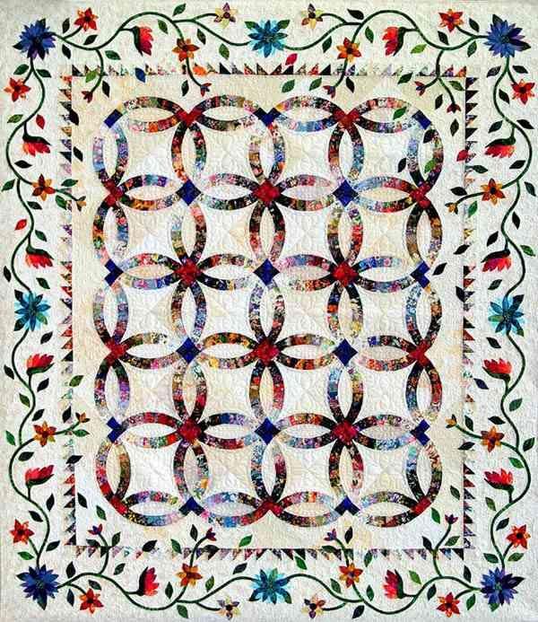 Dark Color Quilt Patterns | Garden for my Wedding Ring | Applique ... : diamond ring quilt pattern - Adamdwight.com