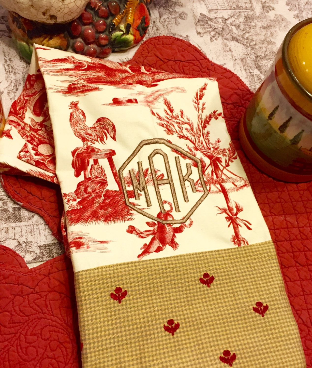 Monogrammed Kitchen Towel Hand Towel Personalized Gift French