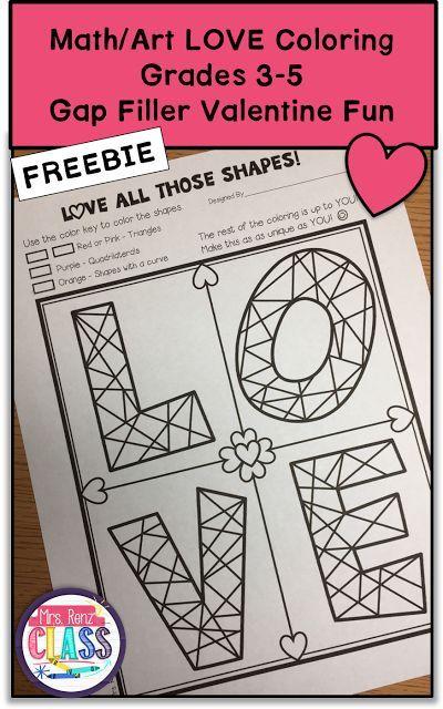 Valentine Math Art Gap Filler Freebie Grades 3 5 Teaching Upper