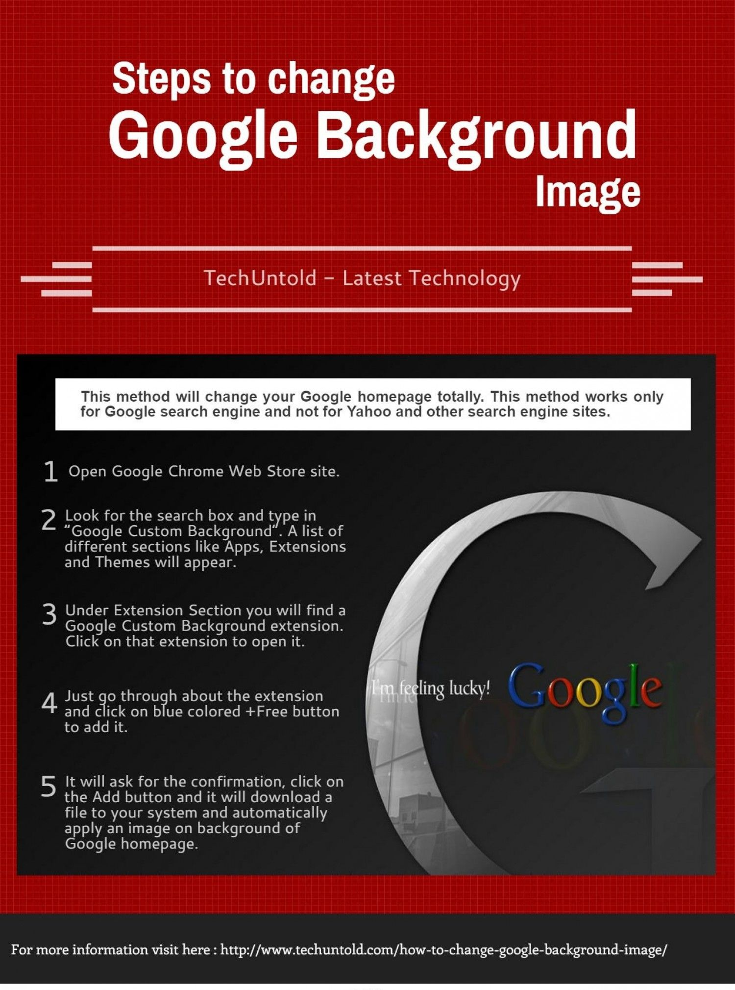 steps to change google background image infographic internet