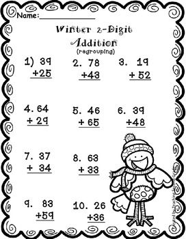 FREEBIE! 2 Digit Addition Winter Theme Practice Worksheet