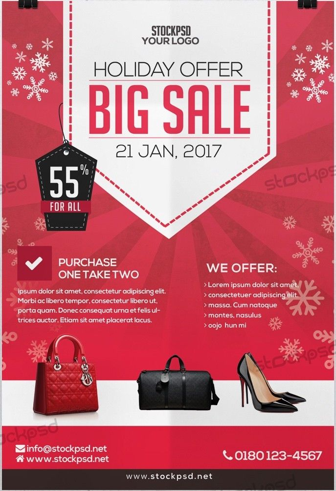 Holiday 2017 Big Sale u2013 Download FREE PSD Flyer Template - Free - for sale template free