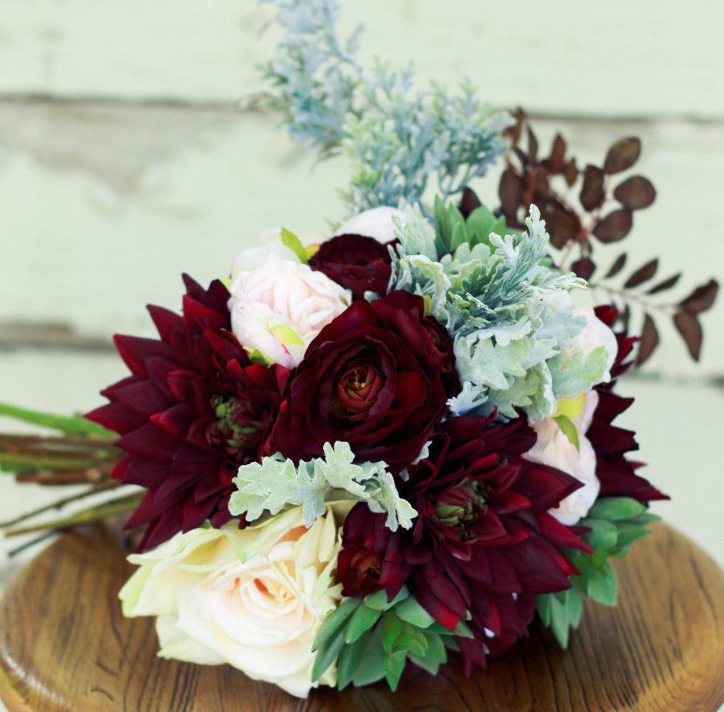 Wedding Bouquet Burgundy : Succulent plum burgundy silk bridal bouquet with dahlias