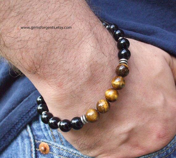 fcd0b4ba49d4 Pulseras masculinas · Ojo de tigre marrón dorado y negro Onyx hombres por  GemsForGents