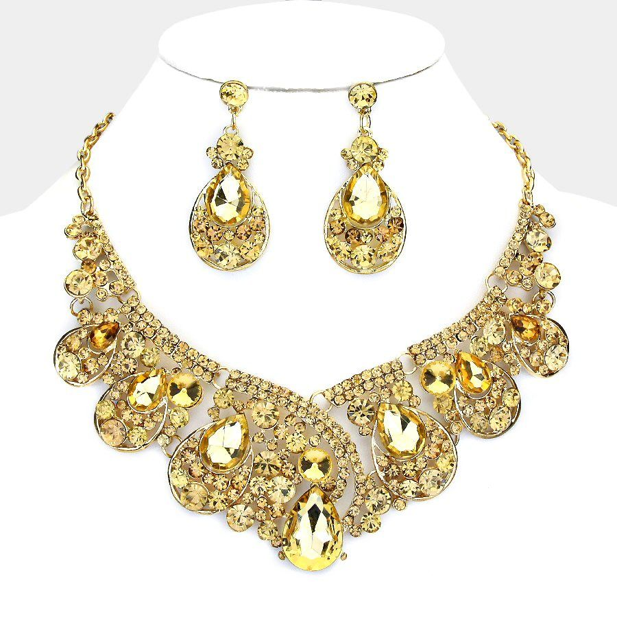 Vintage Style Fabulous GOLD TOPAZ Rhinestone Costume Necklace Earring Set In Jewelry Watches Fashion Sets