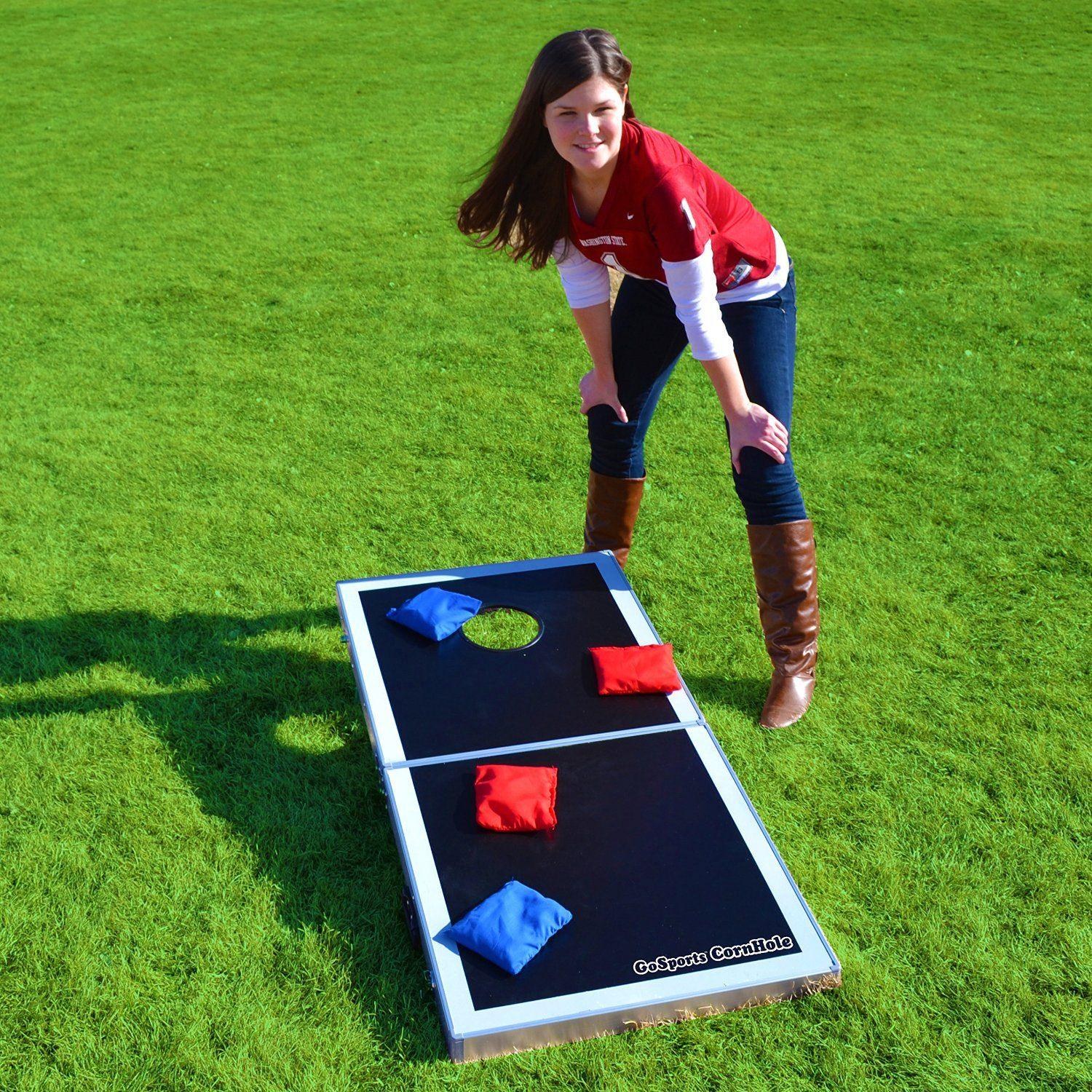 Portable Cornhole Game For Easy Storage And Transport For Summer Trips And  Backyard Fun.