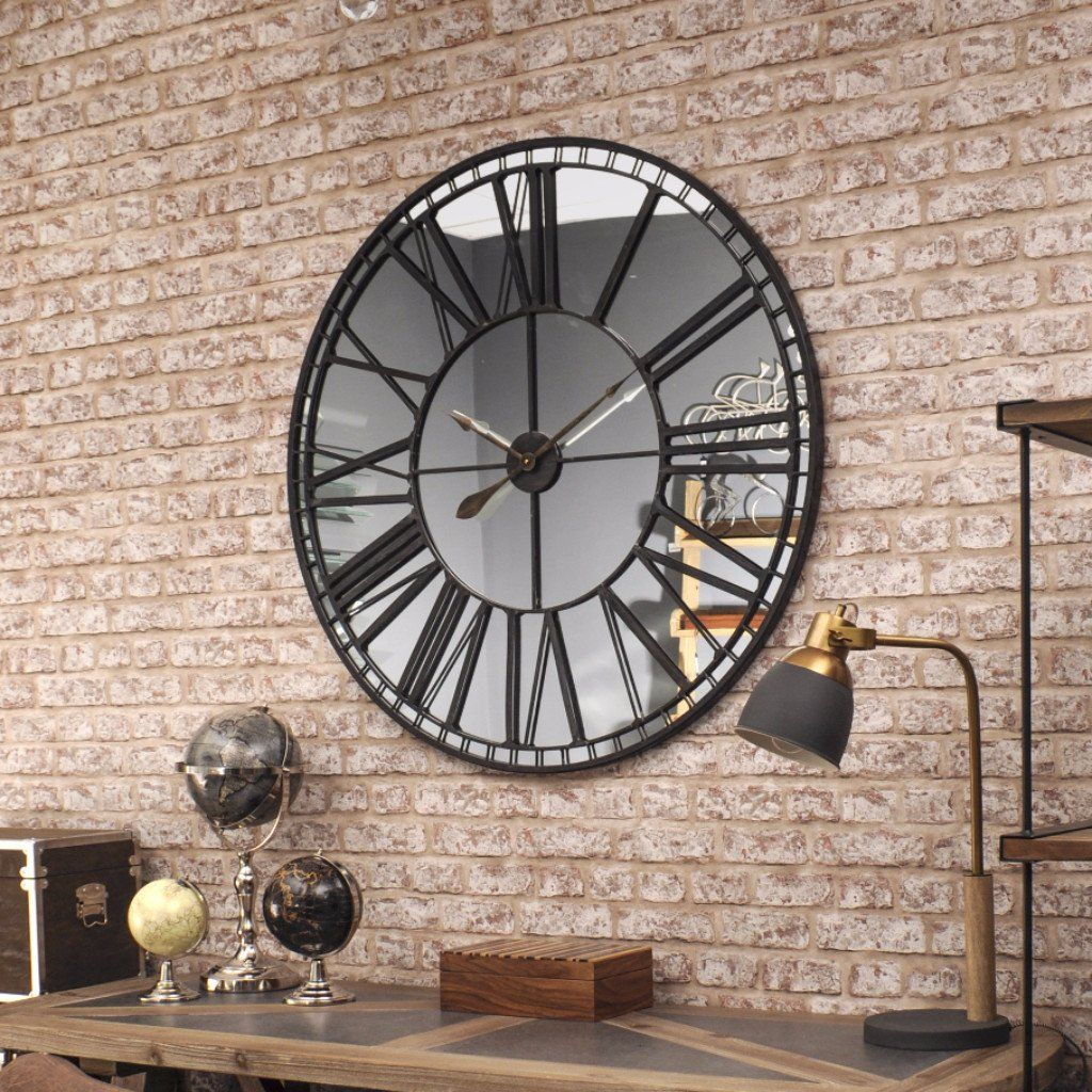 Oversized Skeleton Wall Clock Mirror Big Wall Clocks Mirror Wall Clock Distressed Wall Clock