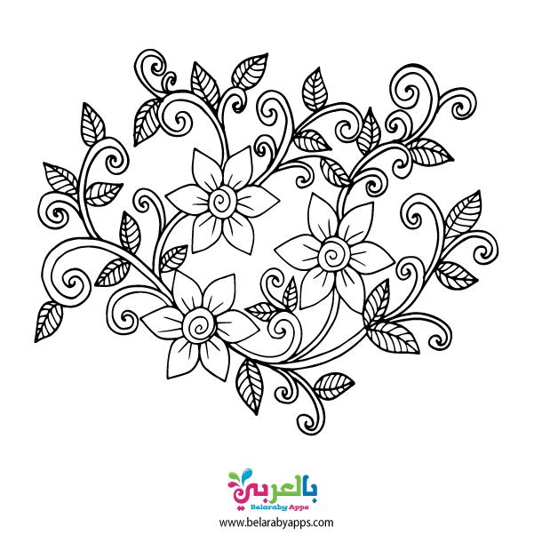 رسومات تلوين للبنات الكبار جاهزة للطباعة اوراق تلوين للبنات بالعربي نتعلم Floral Embroidery Patterns Flower Doodles Handwork Embroidery Design