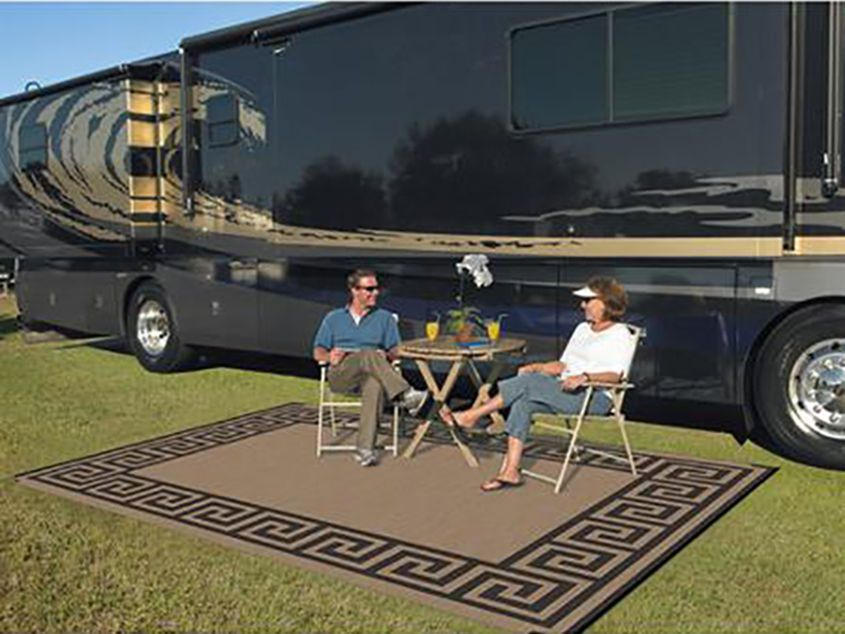 Indoor Outdoor Patio Mat RV 9 x12 Reversible Camping