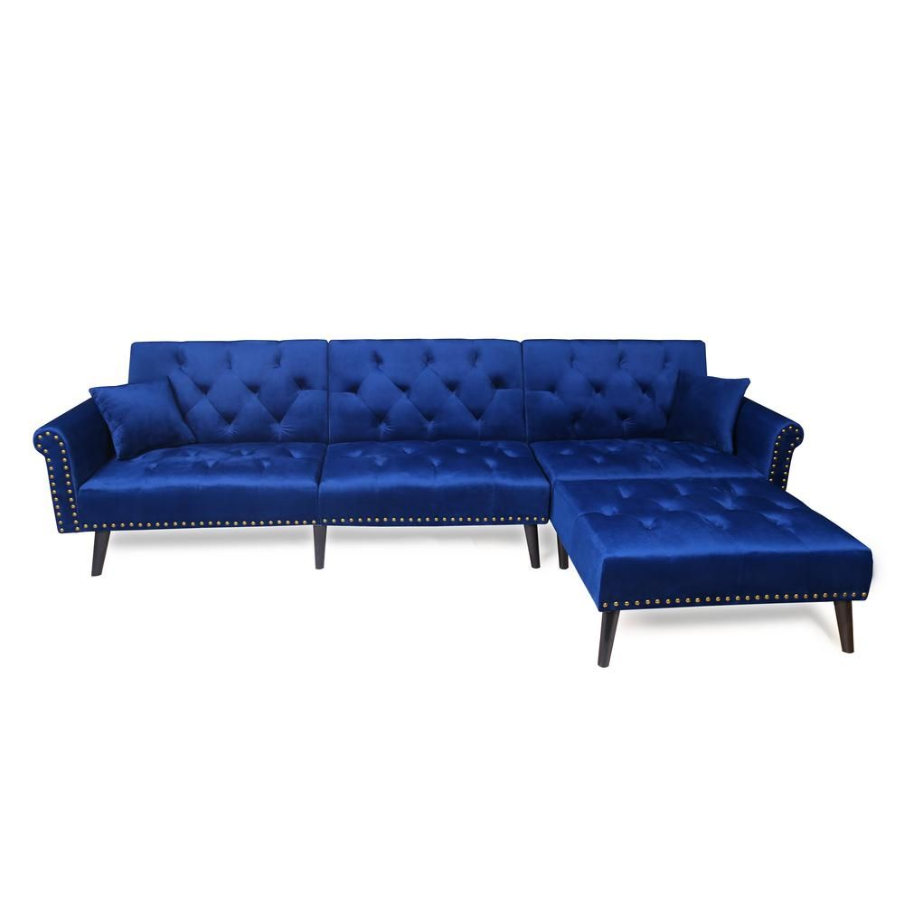 Admirable Merax Navy Blue 2 Piece Modern Vintage Futon Sofa Bed Set In Gmtry Best Dining Table And Chair Ideas Images Gmtryco
