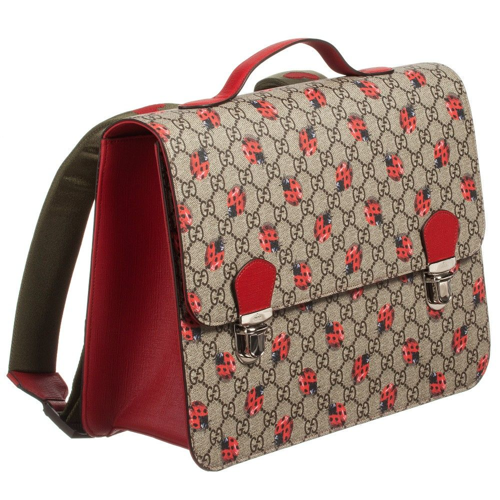 8b06cd062c Girls very smart beige and red satchel backpack from Gucci. Made in the  designer s signature