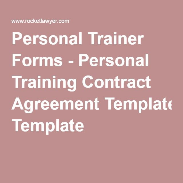 Personal Trainer Forms - Personal Training Contract Agreement