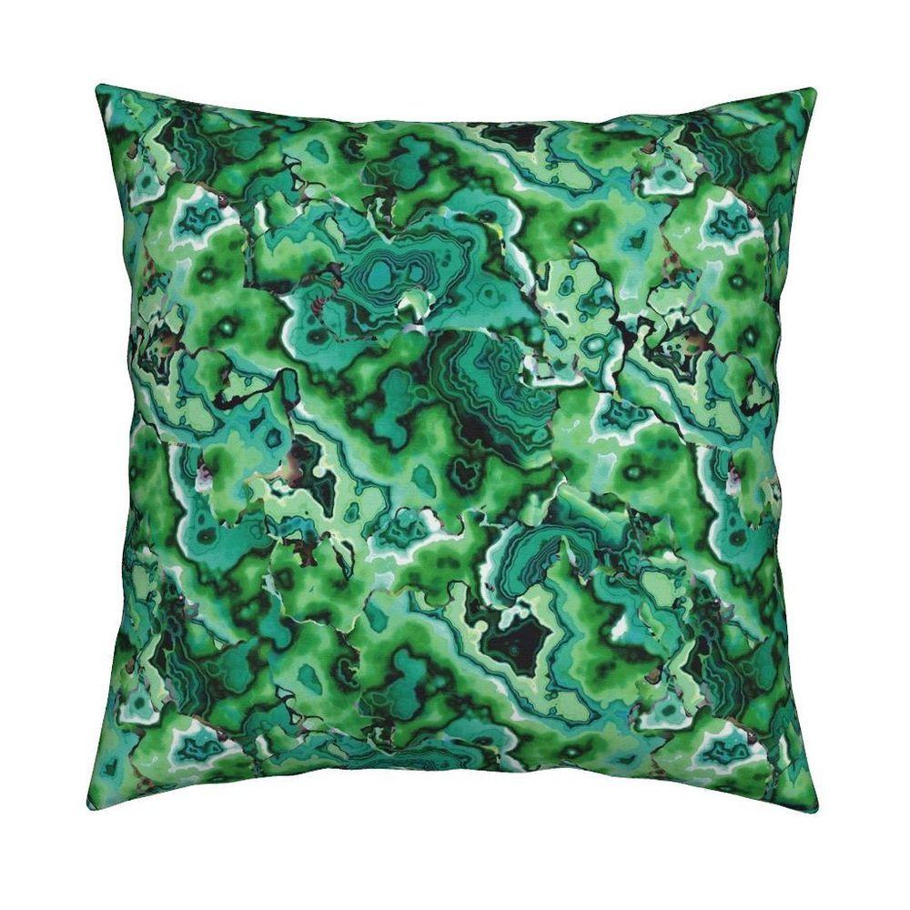 Joan emerald green geode stone throw pillow cover w optional insert