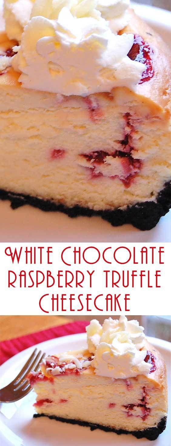 Copycat Cheesecake Factory White Chocolate Raspberry Truffle Cheesecake #cheesecakes