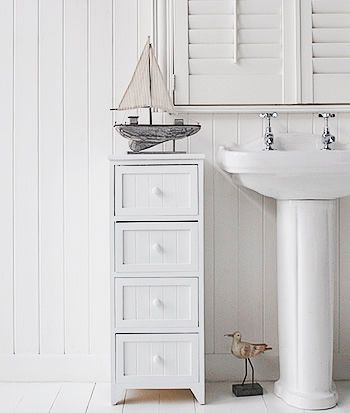 Maine 4 Drawer Freestanding Bathroom Drawer Cabinet White Bathroom Storage White Bathroom Storage Cabinet Small Bathroom Cabinets