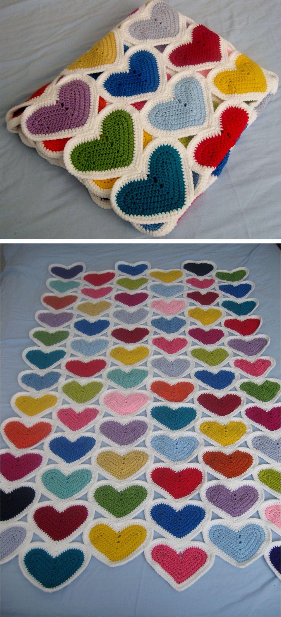 Crochet Hearts Blanket Free Pattern | Crochet blankets, Free crochet ...