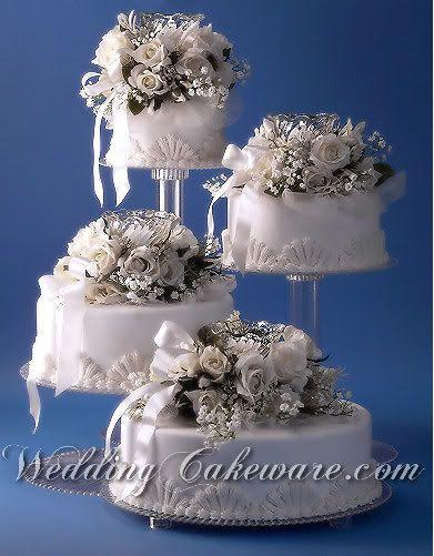 4 Tier Splendor Cascade Wedding Cake Stand Stands Set