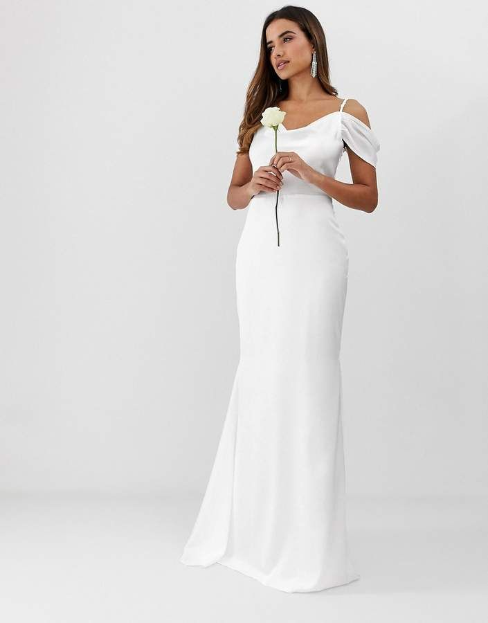 591067ce1f83 Missguided off the shoulder fishtail maxi dress in white Fishtail Maxi Dress