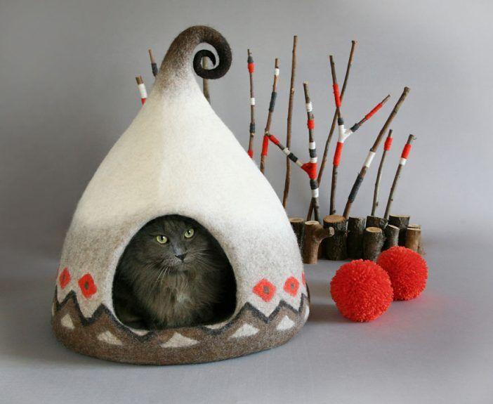 Eine Frau Macht Aus Filz Märchenhafte Katzenhäuser Sieh Dir Diese