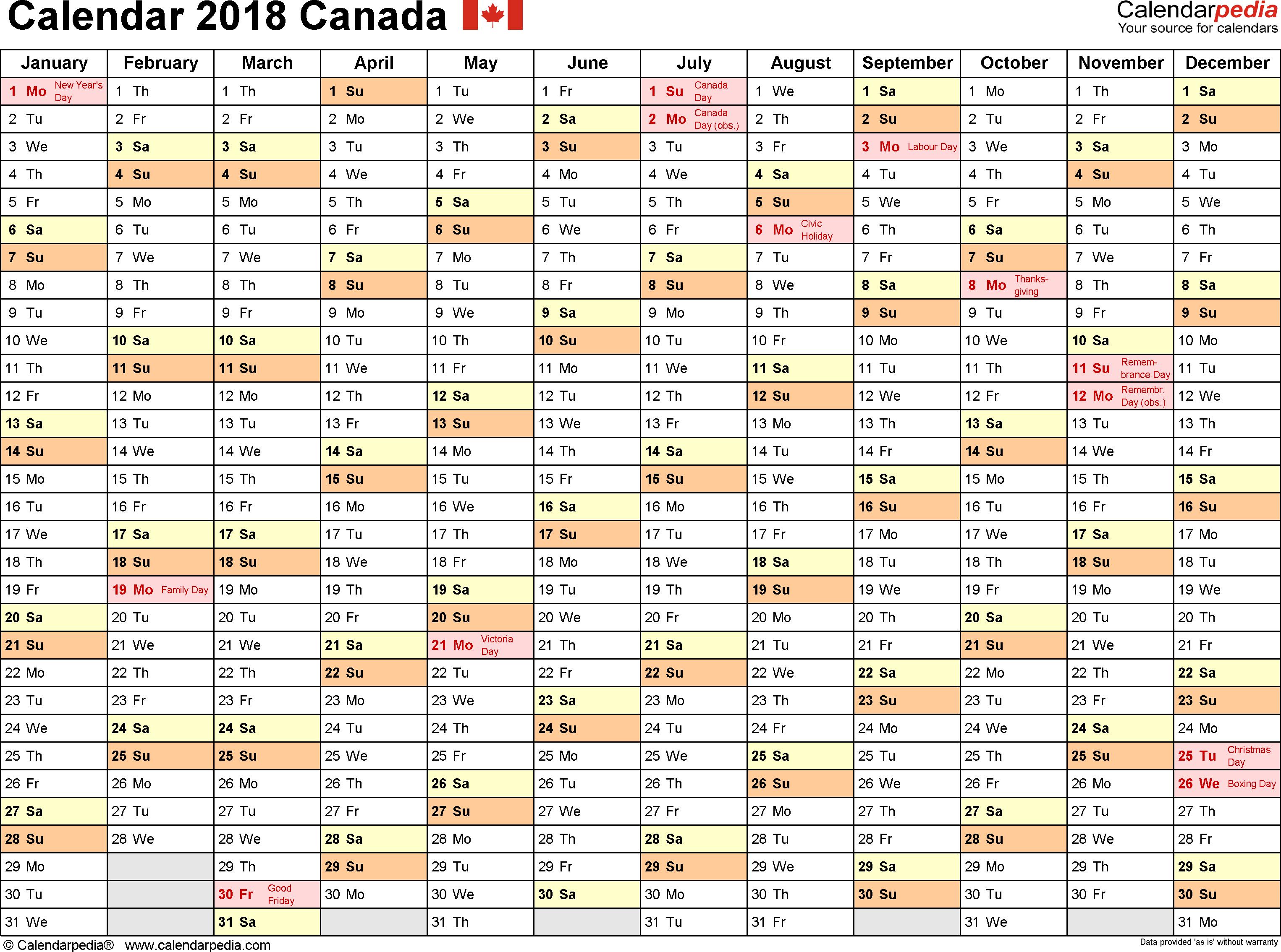 monthly calendar template 2018