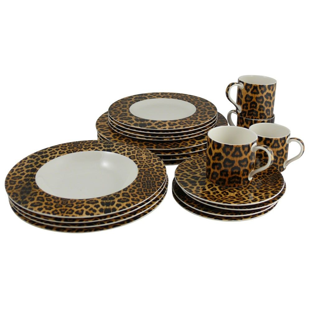 Cheetah 20 Piece Dinnerware Set Casual Dinnerware Tabletop