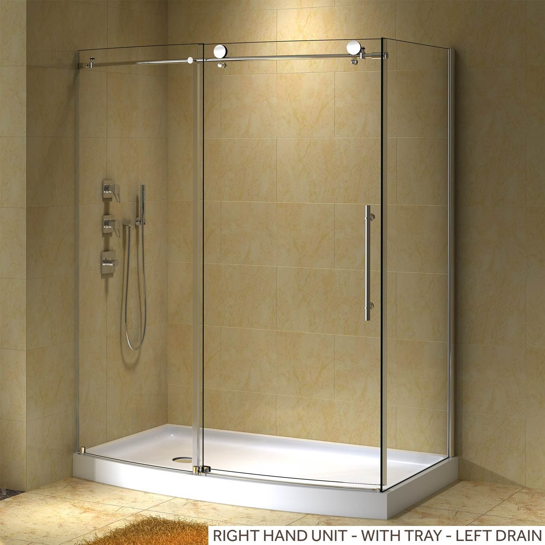 58 X 30 Sloan Corner Shower Enclosure With Arched Front Corner