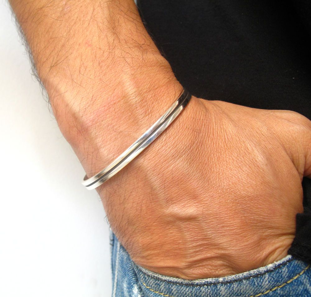 925 silver handmade cuff bangle solid heavy wide men bracelet artisan sterling #symbolina #Cuff