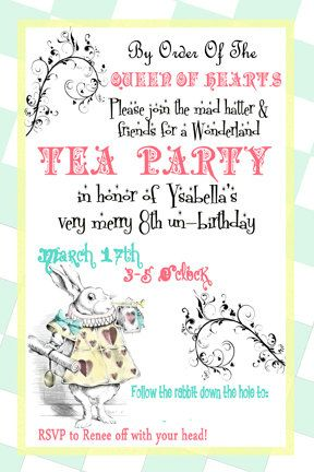 alice in wonderland invite mad hatter tea party invitation digital, Party invitations