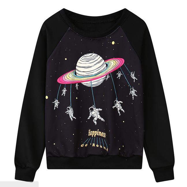 Kawaii Clothing Harajuku T-Shirt Saturn Galaxy Planets Black White Embroidery