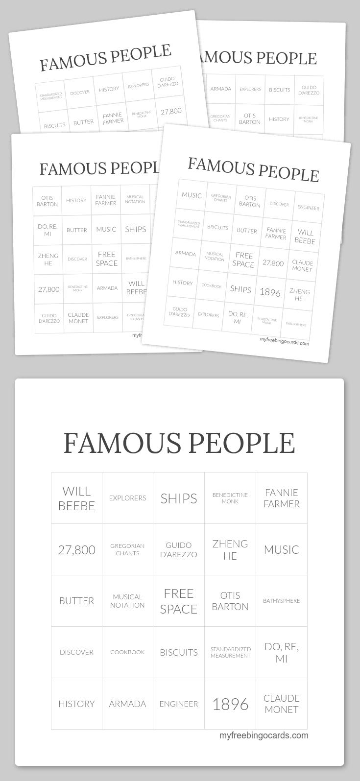 Free Printable Bingo Cards Free printable bingo cards