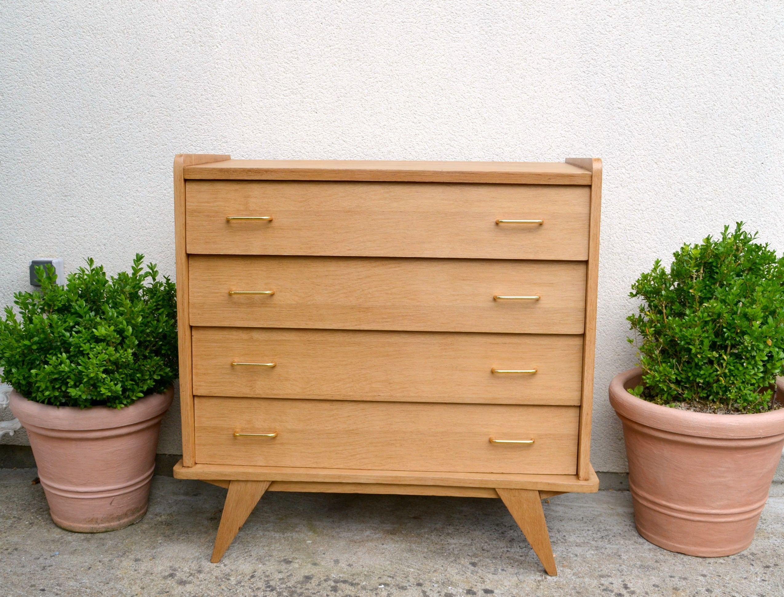 COMMODE SCANDINAVE 4 tiroirs, en bois vernis, pieds compas , vintage ...