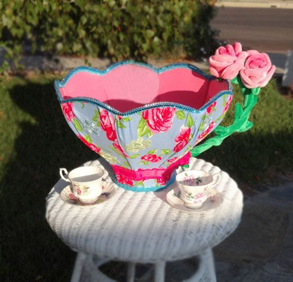 Alice mad hatter giant tea cup tea party centerpiece photo for Mad hatter party props