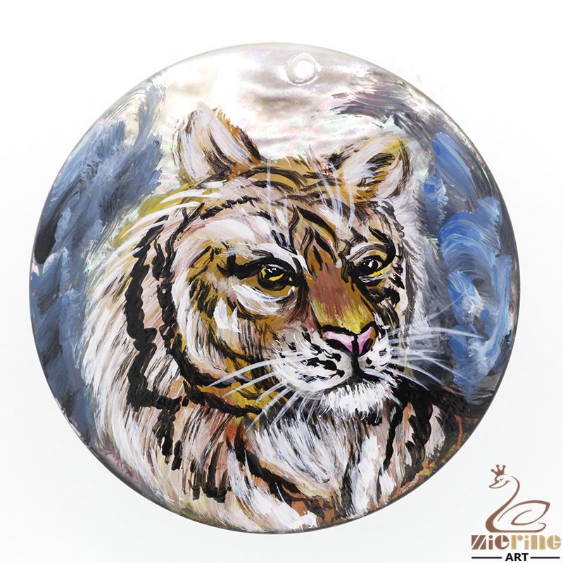 Cool Gift Hand Painted Tiger Natural Black Lip Shell Pendant DIY #ZL #Pendant