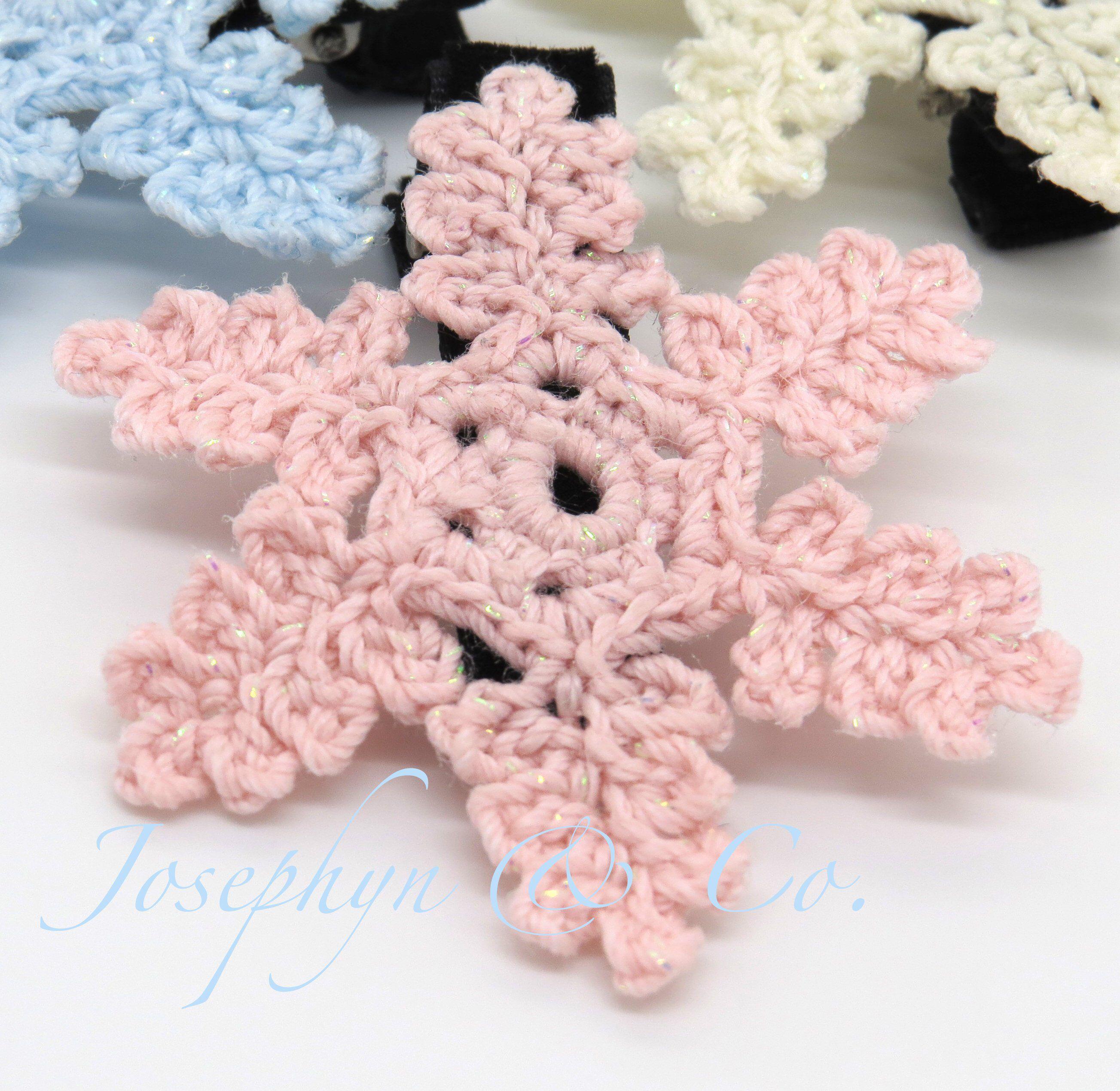 Crochet pink lace snowflake alligator clip small diy