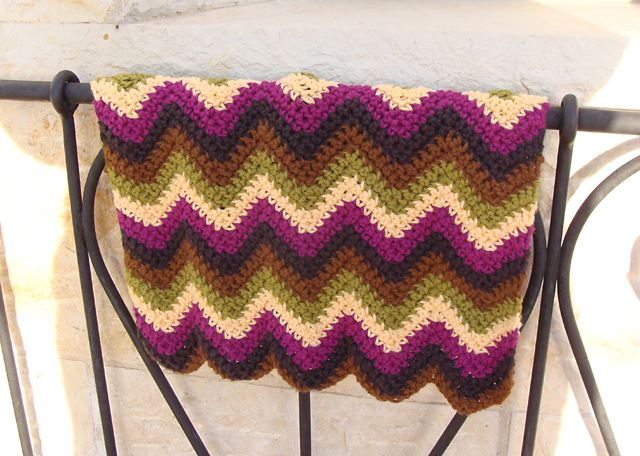 Crocheted Zig Zag Doll Blanket Gift Crochet Baby Kids