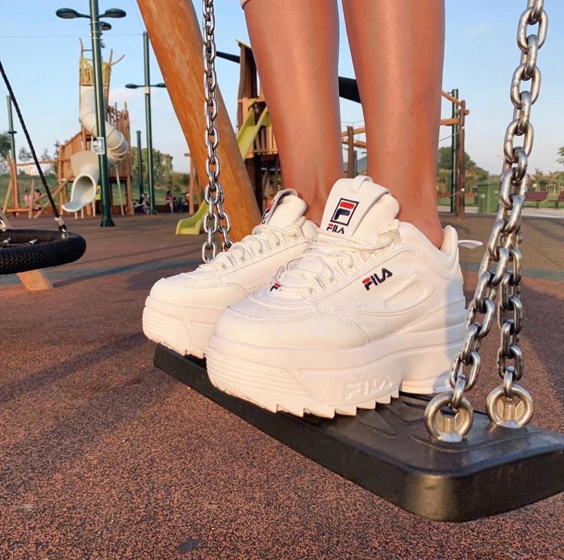 FILA DISRUPTOR II WEDGE White en 2020 | Zapatos tenis para