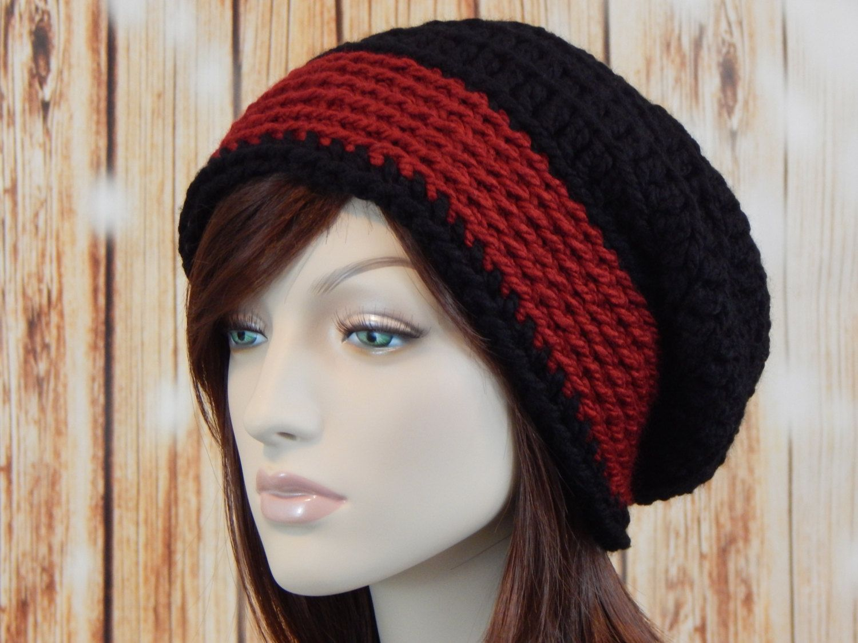 Dark Red Black Fluffy Slouch Hat 58a4764db72