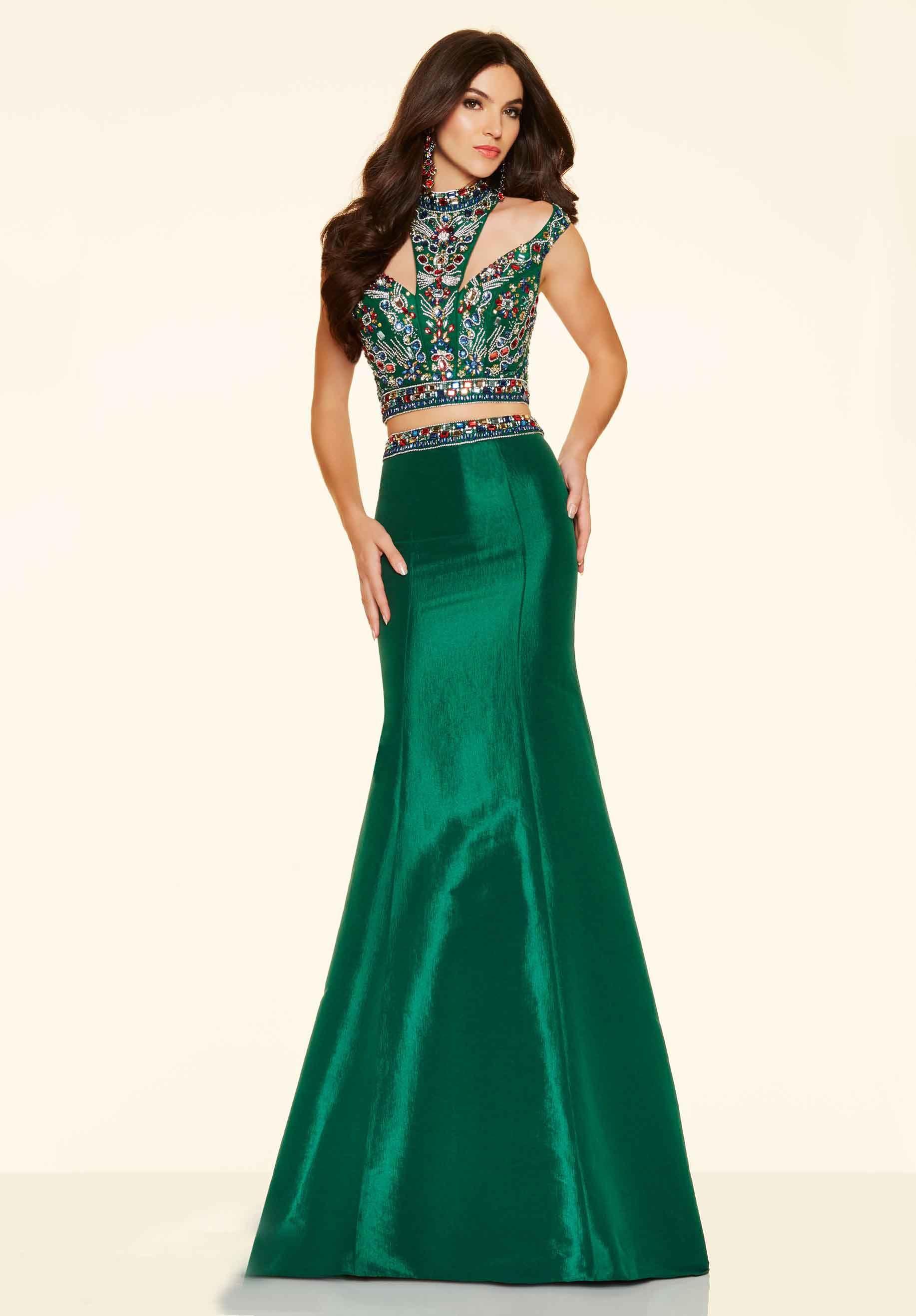 Hollow Dark Green High Neck Satin Beading Two Piece Prom Dress ...